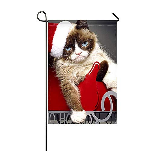 DongGan Garden Flag Grumpy Cats Worst Christmas Ever 2014 Aubrey Plaza 12x18 Inches(Without Flagpole)