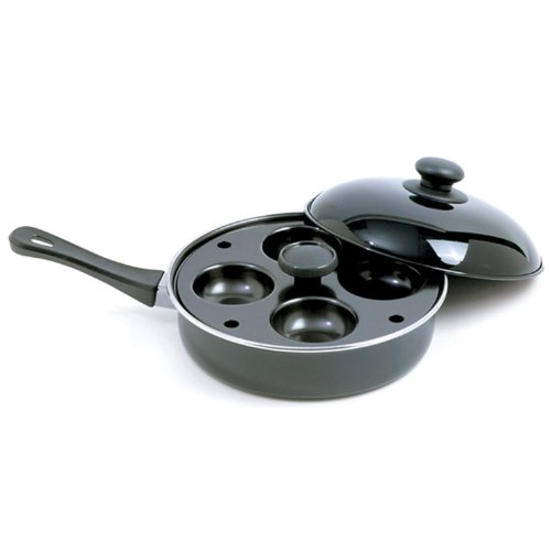 Norpro 9.5 Inch Nonstick Skillet Set with Removable 4 Egg Poacher, 9.5 IN, As Shown