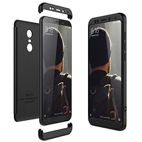CE-Link Cover Xiaomi Redmi 5 Plus 360 Gradi Full Body Protezione Custodia Xiaomi Redmi 5 Plus Silicone Rigida Snap On Struttura 3 in 1 Antishock e Antiurto Case AntiGraffio Molto Elegante - Nero