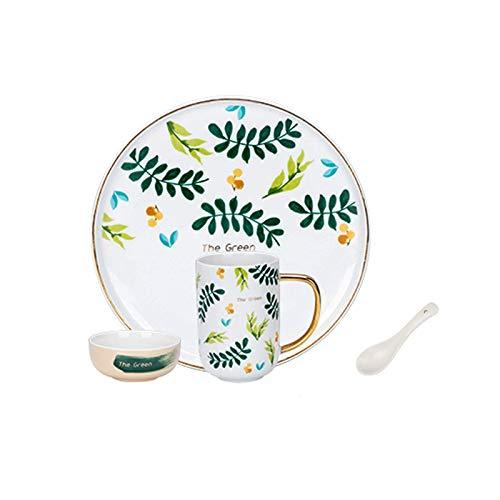 platos llanos Cena platos creativo cocina vajilla conjunto de placas de cerámica de 4 piezas conjuntos de placas de cerámica, taza de placa, servicio para 1, personalidad platos para el hogar conjunto