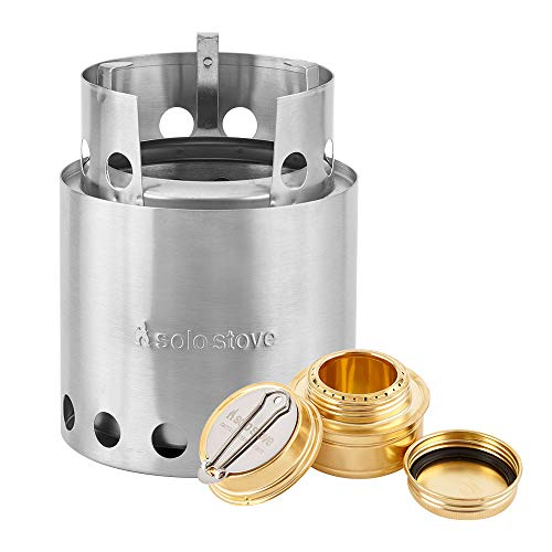 Solo Stove with Backup Alcohol Burner - Lightweight Kitchen Kit for Backpacking, Camping, Survival, Emergency Preparation. Burns Twigs - No Batteries or Liquid Fuel Gas Canister Required