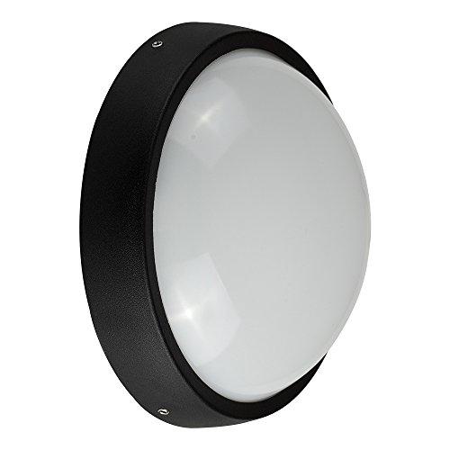 Lámpara LED de pared exterior de aluminio negro contemporánea, mampara de luz de jardín