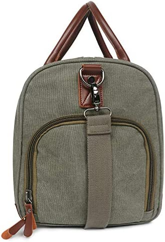 Oflamn Large Duffle Bag Canvas Leather Weekender Overnight Travel Carry On Tote Bag with Shoe Compartment and Toiletry Bag (Green)