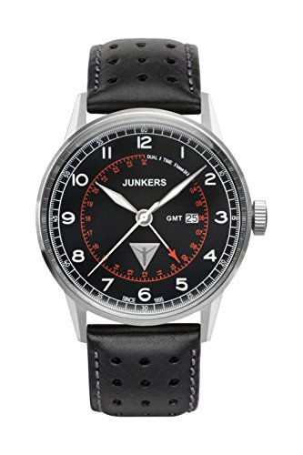 Junkers Herren Analog Quarz Uhr mit Leder Armband 69462