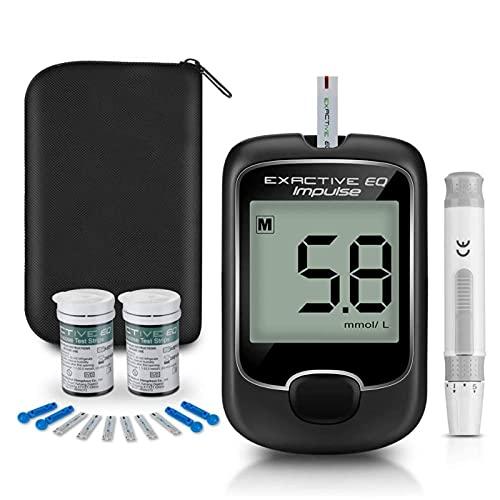 SUOTENG Lecteur de glycémie, Écran d'affichage à l'écran LCD Moniteur de glycémie Automatique de la glycémie de diabète de diabète de kit de Test avec des Bandes de Test Batterie alimentées