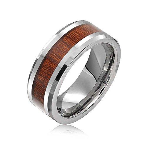 Bling Jewelry Incrustaciones En Madera Koa Banda Boda Anillos De Tungsteno para Hombres Y para Mujer Y Ajuste Confort Tono Plata 8Mm