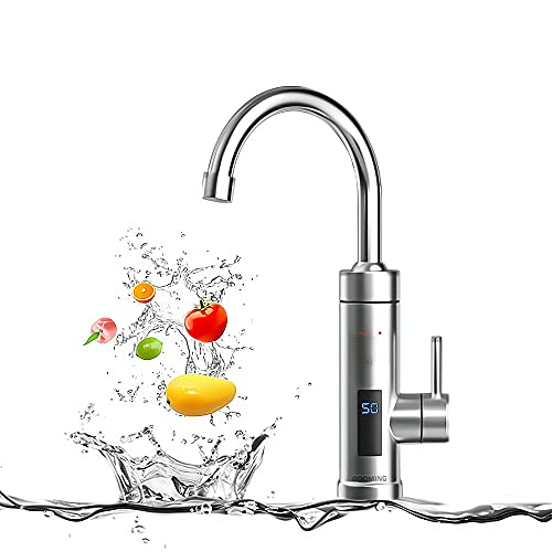 BOOMING 3 secondi di rubinetto dell acqua calda, scaldabagno elettrica con LED Display, 3000W Tankless elettrico rubinetto, riscaldamento istantaneo scaldabagno (Argento)