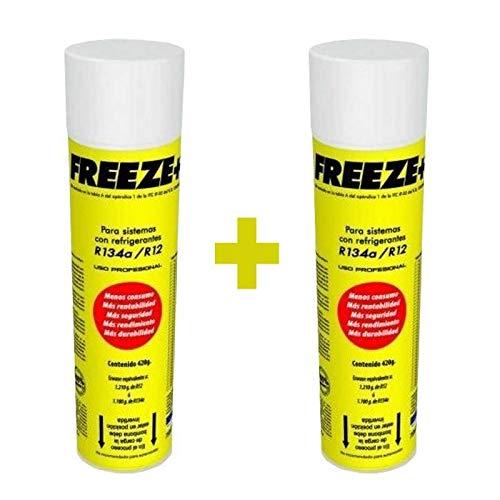 REPORSHOP - 2 Botellas Gas Refrigerante Freeze 445Gr Organico Sustituto R12/R134A