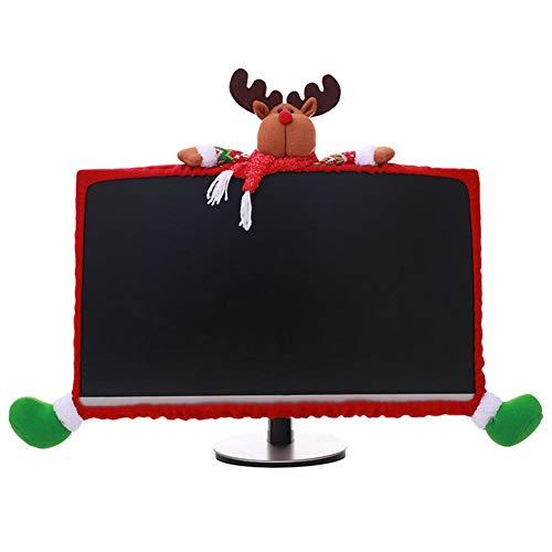 Wendry Copertura Monitor Computer Regalo,Copertura del Caso Protettivo del Telaio del Monitor del Monitor del Computer 19-27 Pollici del Fumetto 3D Natale,Taglio Tridimensionale(Alce)