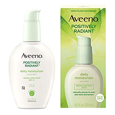 Aveeno Positively Radiant Daily Face Moisturizer with Broad Spectrum SPF 15 Sunscreen and Soy Extract, 4 fl. Oz
