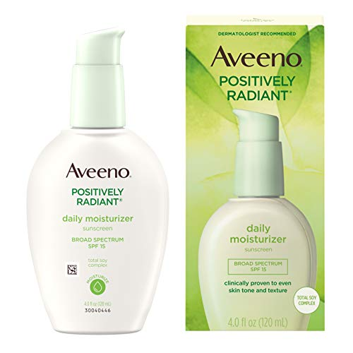 Aveeno Positively Radiant Daily Facial Moisturizer with Broad Spectrum SPF 15 Sunscreen & Total Soy Complex for Even Tone & Texture, Hypoallergenic, Oil-Free & Non-Comedogenic, 4 Fl Ounce