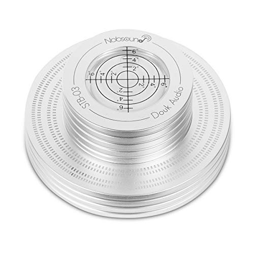 Nobsound Plattenspieler-Stabilizer Aluminum Record Weight LP Vinyl Turntable Disc Stabilizer Bubble Level (Silver)