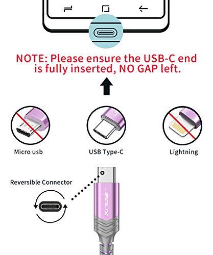 JSAUX USB C Kabel [2 Stück 2M ] Nylon Typ C Ladekabel für Samsung Galaxy S10 S9 S8 Plus,Note 10 9 8,A3 A5 2017,LG G5 G6 V20,HTC 10 U11,Sony Xperia XZ Xa1, Huawei P30 P20 Mate 20 Lite P10 P9 usw (Lila)