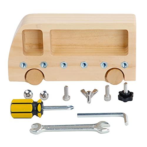Montessori - Tablero de atornilladores Montessori de madera para niños mayores de 3 años y niños pequeños, preescolar 19 x 10 x 3,5 cm