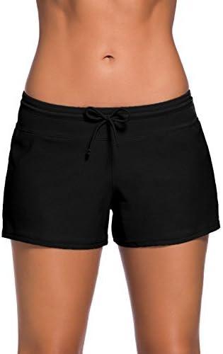 ENLACHIC Women Sports Summer Tankini Bottom Slit Swim Beach Board Shorts