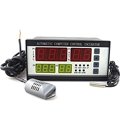 YZmoffer Incubator Controller Automatic Humidity and Temperature Controller for Egg Incubator with Digital Screen Egg Hatcher Temperature Humidity Meter 110V (XM-18)