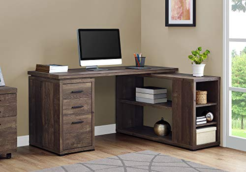 Monarch Specialties Computer Desk L-Shaped Corner Desk with storage - Left or Right Facing - 60'L (Brown Reclaimed Wood Look)