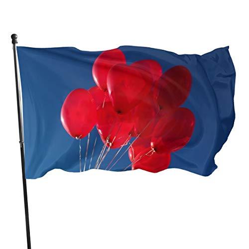 N/A vlag 3x5 FtRed hart ballonnen in de lucht, enkelzijdige tuinvlaggen voor binnen buiten gebruik UV beschermd