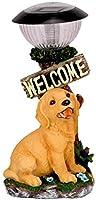 庭の犬の像、人工犬の動物の屋外彫刻ウェルカムサイン省エネランプソーラーライト