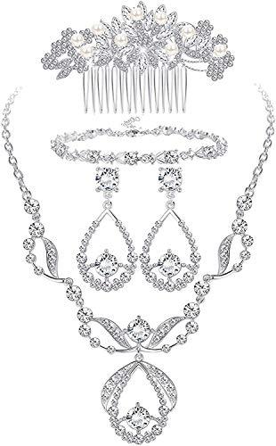Adramata Conjunto de Joyas Nupciales de Cristal para Bodas de Graduación Novia Damas de Honor Vintage Rhinestone Collar Pendientes Pulsera Peine para Mujeres