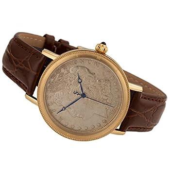 Stauer - Morgan Silver Dollar Men s Wrist Watch Genuine Brown Crocodile-Grain Leather Band Swiss Movement
