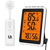 ORIA Indoor Outdoor Thermometer Digital Wireless Hygrometer Humidity Gauge Temperature Monitor with USB Charging Cable Outdoor Temperature Thermometer, Min and Max Records for Home, Office, Greenhouse