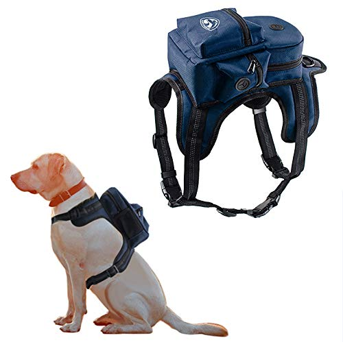Kaynine Dog Backpack for Travel Camping Walking Training with Adjustable Straps Size (Small, Blue)