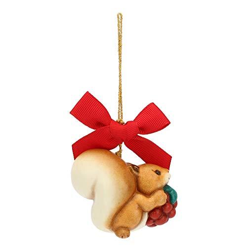 THUN - Addobbo Scoiattolo con Mora per Albero di Natale - Formato Piccolo - Ceramica - Linea Preludio d'inverno - 6x6,1x4,5 cm