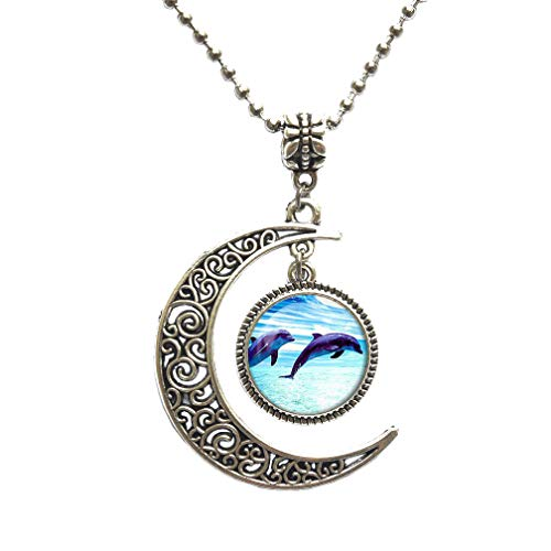 Dolphins Pendant Dolphin Necklace Dolphin Jewelry.Animal Necklace,Animal Lobster Clasp,birt,Glass cabochon Pendant Gift,PU097