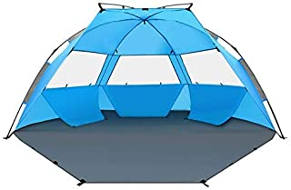 TAGVO Pop Up Beach Tent Sun Shelter Easy Set Up Tear Down, Portable Instant Lightweight Beach Baby Canopy, UPF 50 Plus Sun Protection 3 Mesh Screen Windows Good Ventilation Sports Sun Shade
