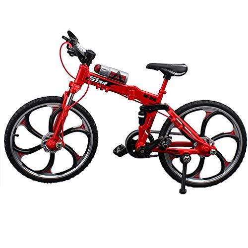 NUOBESTY Mini Bicicleta Dedo Bicicleta de montaña Juguetes de Metal en Miniatura Mini Deportes Dedo Bicicleta Juguete Juego Creativo Conjunto de Juguetes Colecciones Rojo