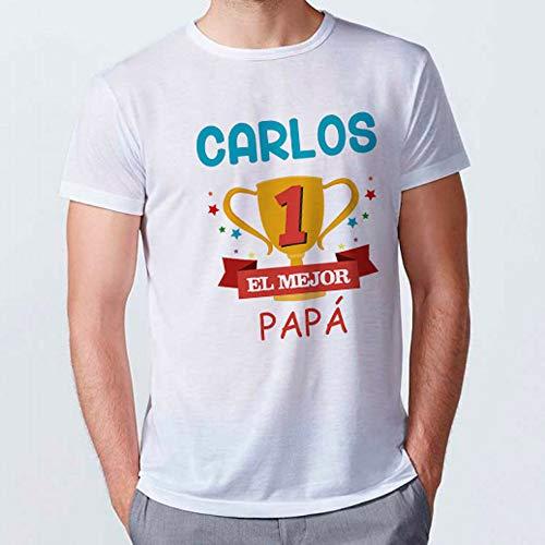 Camiseta Personalizada Dia del Padre con Nombre/Texto. Regalo Personalizado Dia del Padre. Certificado Oeko-Tex Standard. Varios Diseños y Tallas. Tacto Algodón. Copa Papá
