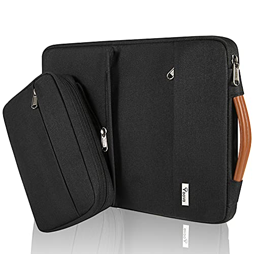 Voova 13 13.3 Inch Laptop Sleeve Case Compatible MacBook Pro/MacBook Air 2020 M1, 13.5' Surface Book 2/3, 13' Chromebook, Waterproof Computer Bag Cover with Detachable Small Pouch & Handle, Black