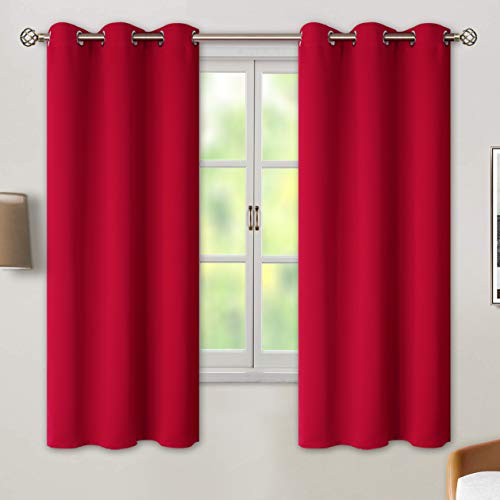 BGment Blackout Curtains for Bedroom - Grommet Thermal Insulated Room Darkening Curtains for Living Room, Set of 2 Panels (42 x 63 Inch, Red)