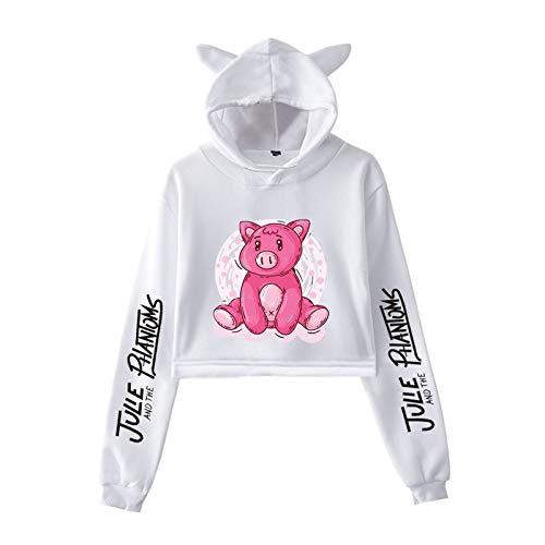 Julie and The Phantoms Kleidung Mädchen Casual Cat Cropped Hoodies Frauen Langarm Kapuzen-Sweatshirts für Männer Frauen Gr. XS, Weiß3