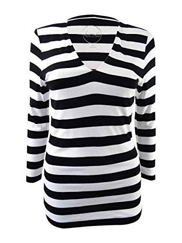 INC International Concepts Women's Striped Rib-Knit Top (M, Black/White)