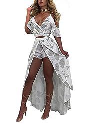 b58a0d57a71 Speedle Women s Sexy Deep V-Neck Ruffle Sleeve Shorts Jumpsuit Rompers Maxi  Dress