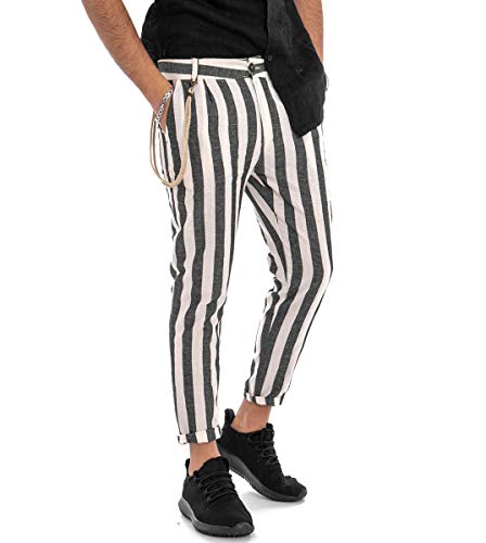 Giosal Pantalone Rigato Uomo Righe Bicolore Nero Tasca America Lino Casual Nero-M