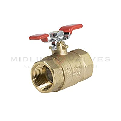 Midline Valve 837T256-NL Premium Full Port Ball Valve with T-Handle Brass, x 3/4 in. FIP, 3/4 in. FIP x 3/4 in. FIP by Midline Valves