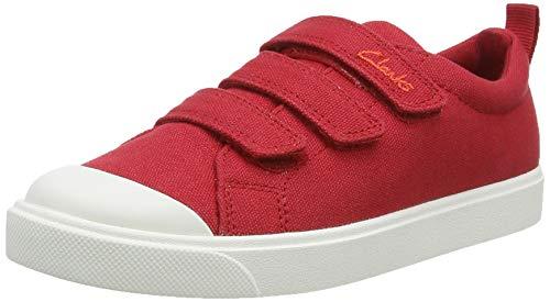 Clarks City Vibe K, Zapatillas Unisex niños, Rojo (Red Canvas Red Canvas), 31 EU