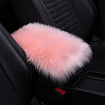 8sanlione Center Console Cushion Pad/Cover 11.4 x7.4  Furry Armrest Cover for Cars Vehicles SUVs Premium Sheepskin Wool Car Interior Accessories for Women  Pink