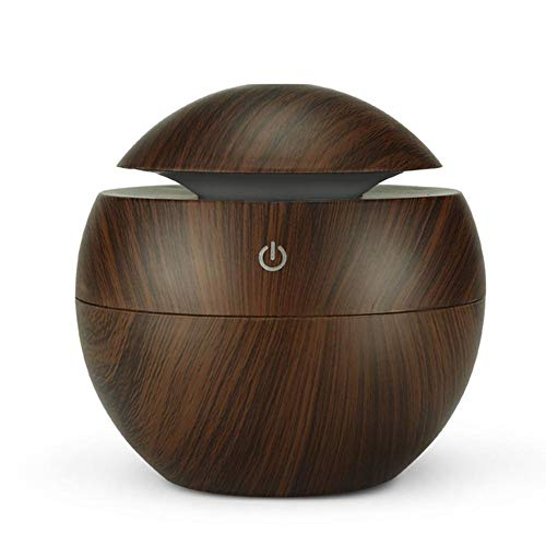 Koude mist luchtbevochtiger, kleuren LED Night Light USB Aromatherapie Luchtbevochtiger etherische olie Diffuser Wood Grain Cool spuit 95 ml,1