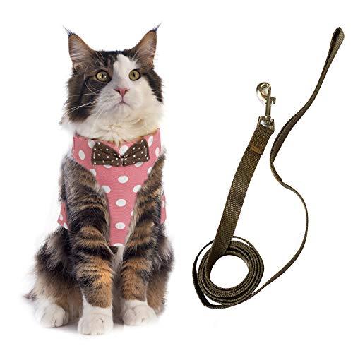 KATELUO Katzengeschirr Geschirr für Katzen, Katzengeschirr und Leine Set, Katzenweste für Katzen, Weich und Bequem, Pufferwirkung und Fluchtwiderstand (S, Pink)