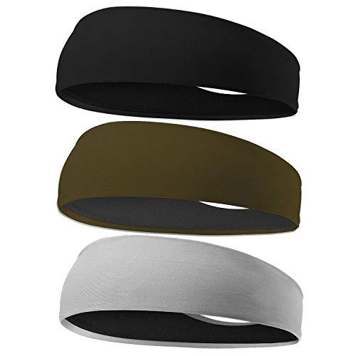 EasYoung Headbands for Men, 3 Pack Breathable Men's Headbands, Sport Sweat Headbands for Running, Cycling, Gym Exercise, Fitness, Moisture Wicking, Non Slip