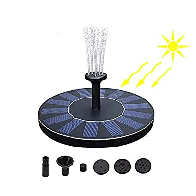 Blueberry Kitchen Products White Blossoms Solar Fountain for Garden or Outdoor Using, Solar Powered Water Fountain Pump, Solar Fountain for Bird Bath, Freestanding Bird Bath (Black)
