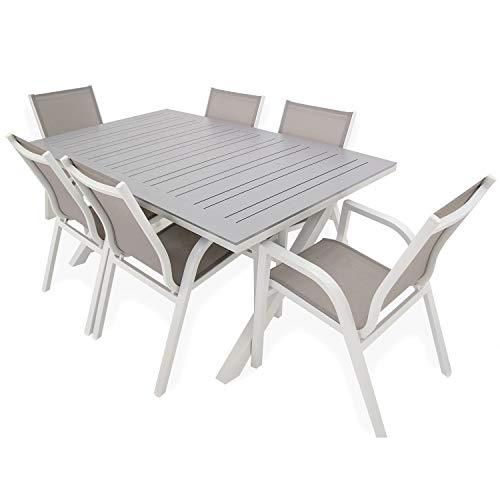 Conjunto Jardin, Mesa Extensible 170/240 y 6 sillones apilables, Aluminio Blanco y Gris, Textilene taupé Jaspeado, 6 plazas