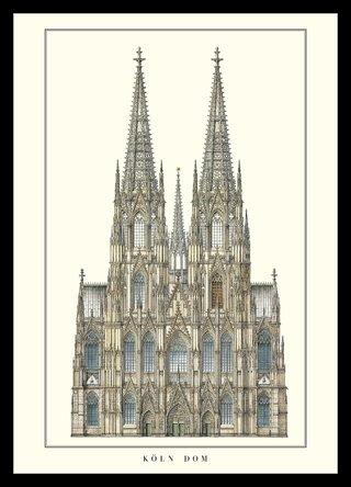 Germanposters Kölner Dom Poster Kunstdruck Bild im Alu Rahmen in schwarz 106x76cm