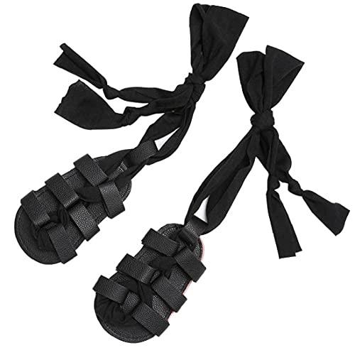 Yililay la niña de Las Sandalias de la PU de la Rodilla de Alta Tiras Cuero del Clip del Dedo del pie Antideslizante Suelas de Zapatos de Verano para niños pequeños 6-12M Negro