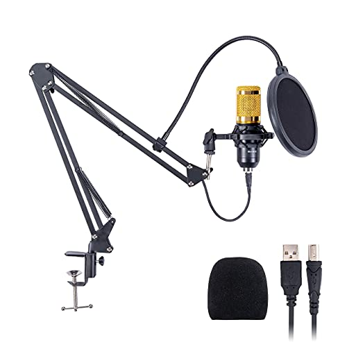 Powerpak BM-800 USB Condenser Microphone Mic Kit | for Gaming, Podcast, Live Streaming, YouTube Recording | Plug & Play with Scissor Stand | Pop Filter | Shock Mount (Black+Gold)