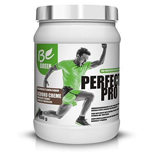 BeGreen Perfect Pro Vegan-Protein mit BCAA und Vitaminkomplex   Schoko-Creme   Eiweisspulver aus Reis-Erbsen-Leinsamen-Protein   laktosefrei, glutenfrei ohne Zuckerzusatz   1kg  ersetzt Whey Protein